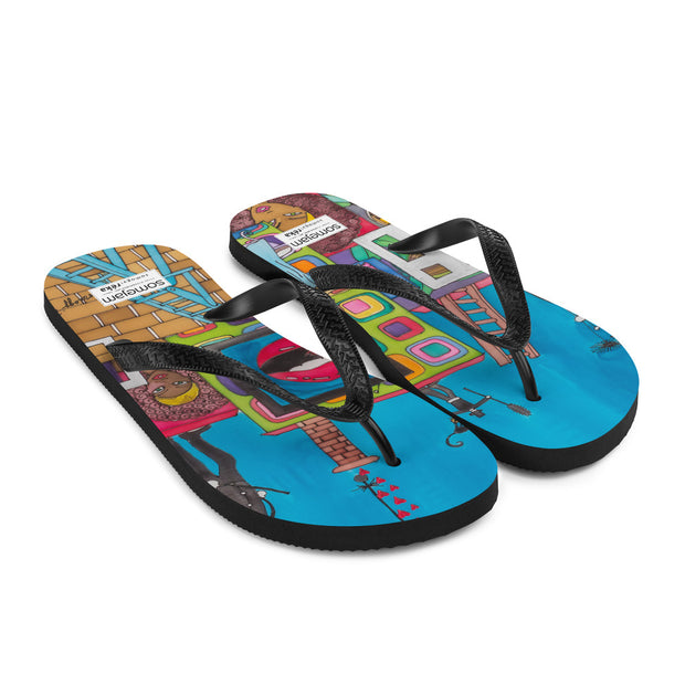 Colorful unique flip-flops - vivid and bold beachwear by Somejam - Smoke from my chimneys in the middle of the summer - Flip-Flops