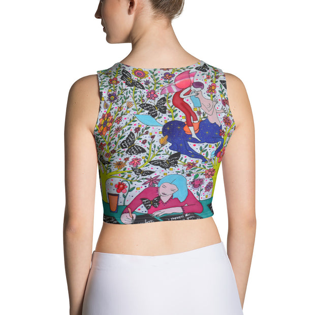 Colorful and bold crop top - striking and flashy women shirts by Somejam - I had to wait for my rider - Crop Top