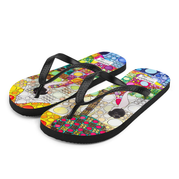 Colorful unique flip-flops - vivid and bold beachwear by Somejam - Amazons out of Amazonas - Flip-Flops