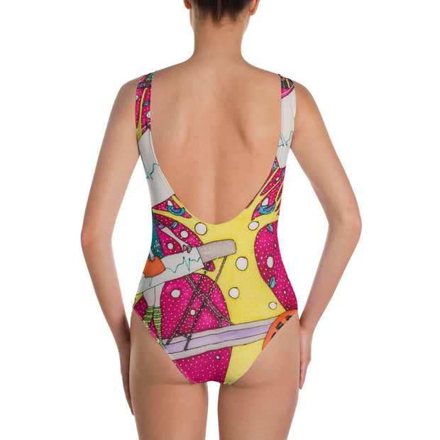 Vivid one-piece swimsuit - colorful and unique beachwear by Somejam - Press the button to cancel - Swimsuit