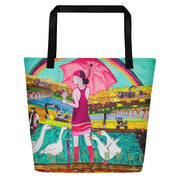 Vivid unique beach bag - colorful and flashy beachwear by Somejam - Rebuliding the Puszta - Beach Bag