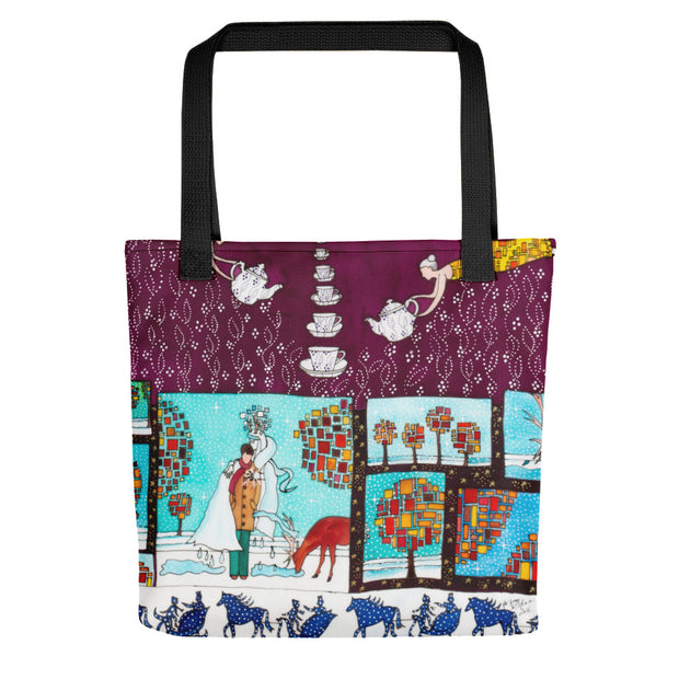 Unique and conspicuous tote bag - colorful and striking women clothing by Somejam - Bar for those who drink empty cups - Tote bag