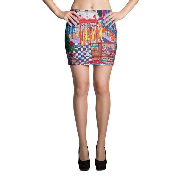 Colorful striking mini skirt - vivid and garish summer clothes by Somejam - Self-portrait 2011 - Mini Skirt