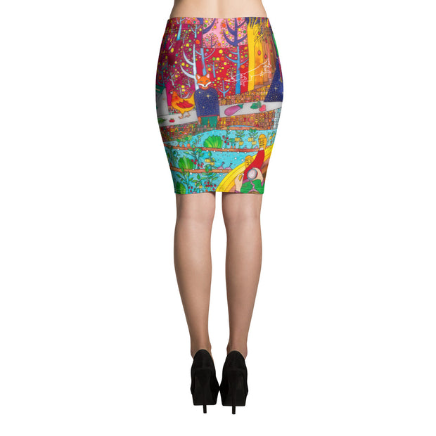 Colorful unique pencil skirt - vivid and garish summer clothes by Somejam - On a star – in a star - Pencil Skirt