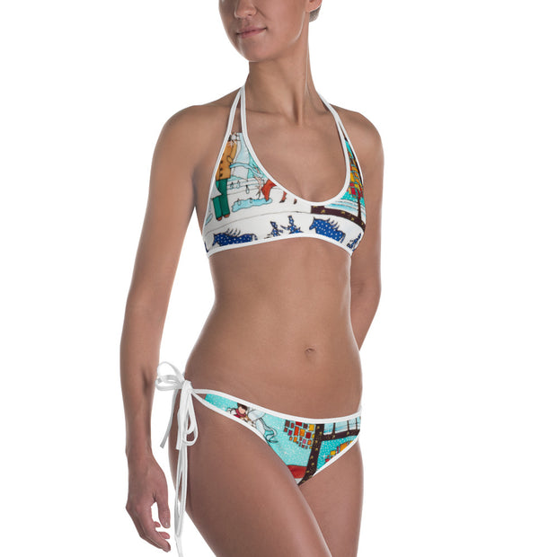 Unique and reversible bikini - colorful and vivid beachwear by Somejam - Bar for those who drink empty cups - Bikini