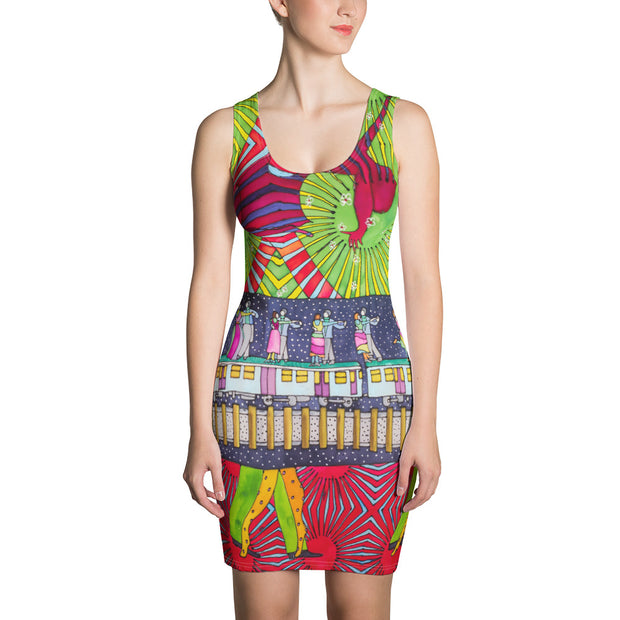 Colorful tight Summer Dress - vivid and garish summer clothes by Somejam - Asimmetry in Simmetry - Strait Dress