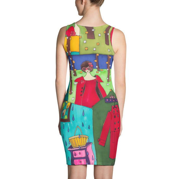 Colorful tight Summer Dress - vivid and garish summer clothes by Somejam - Little Red - Strait Dress