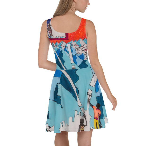 Bold and vivid Summer Dress - colorful and garish summer clothes by Somejam - For the pleasure of the snow leopard - Skater Dress
