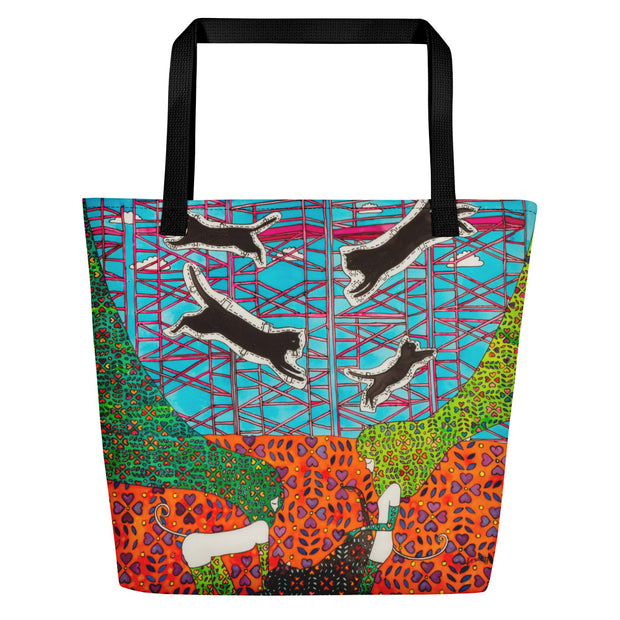 Vivid unique beach bag - colorful and flashy beachwear by Somejam - She builds scaffolding in front of nothing - Beach Bag