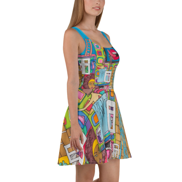 Bold and vivid Summer Dress - colorful and garish summer clothes by Somejam - Smoke from my chimneys in the middle of the summer - Skater Dress