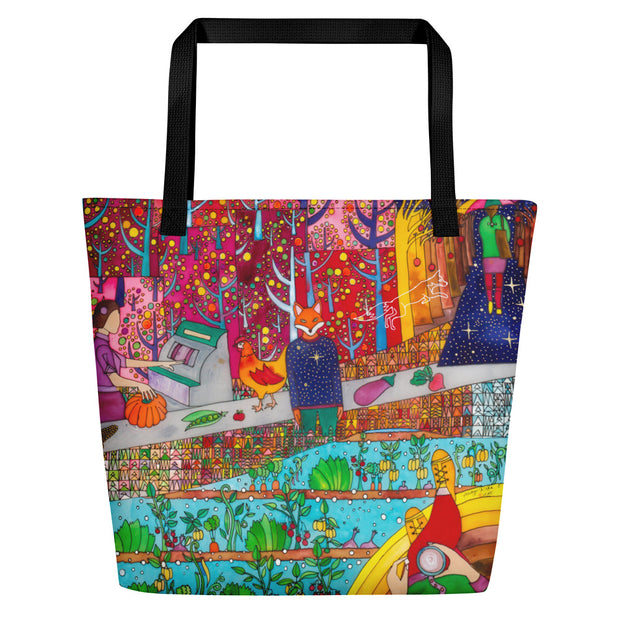 Vivid unique beach bag - colorful and flashy beachwear by Somejam - On a star – in a star - Beach Bag