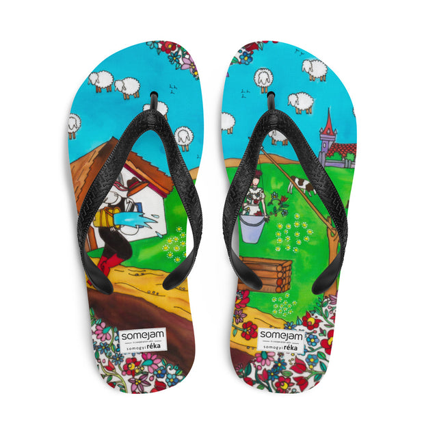 Colorful unique flip-flops - vivid and bold beachwear by Somejam - Mind – the wife of the heart - Flip-Flops