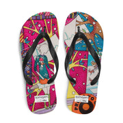 Colorful unique flip-flops - vivid and bold beachwear by Somejam - Press the button to cancel - Flip-Flops