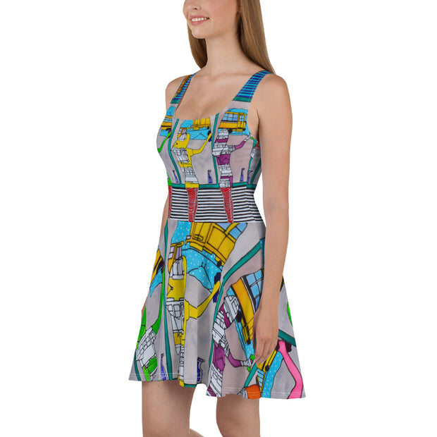 Bold and vivid Summer Dress - colorful and garish summer clothes by Somejam - Washing the window, clearing my eyes - Skater Dress