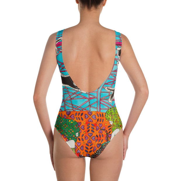Vivid one-piece swimsuit - colorful and unique beachwear by Somejam - She builds scaffolding in front of nothing - Swimsuit