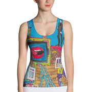 Bold and colorful tank top - striking and garish women shirts by Somejam - Smoke from my chimneys in the middle of the summer - Tank Top