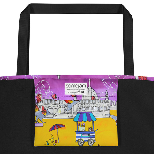 Vivid unique beach bag - colorful and flashy beachwear by Somejam - I don't stop for an ice cream if the house on fire - Beach Bag