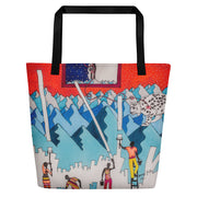 Vivid unique beach bag - colorful and flashy beachwear by Somejam - For the pleasure of the snow leopard - Beach Bag