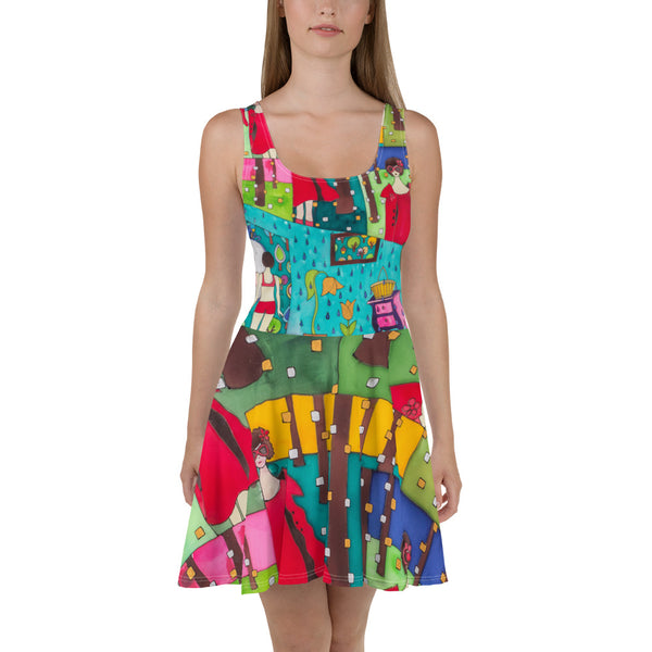Bold and vivid Summer Dress - colorful and garish summer clothes by Somejam - Little Red - Skater Dress