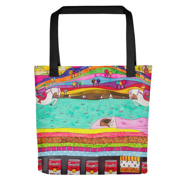 Unique and conspicuous tote bag - colorful and striking women clothing by Somejam - The Princess and the Pea - Tote bag