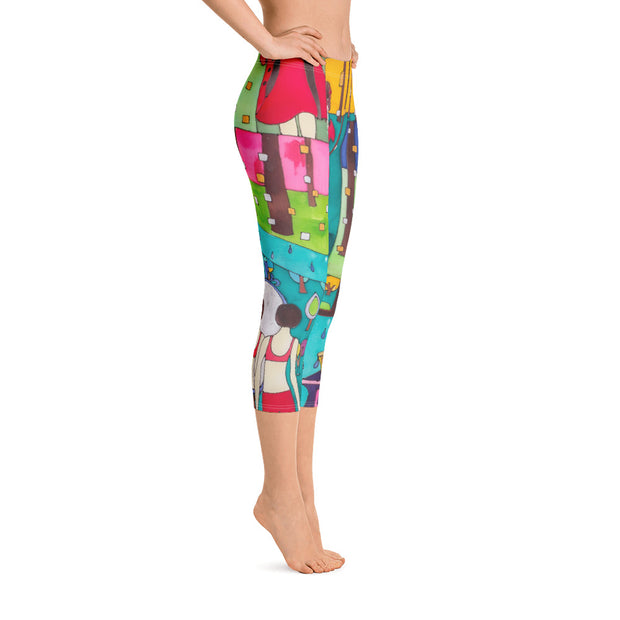 Vivid and bold leggings - colorful and striking summer clothes by Somejam - Little Red - Capri Legging