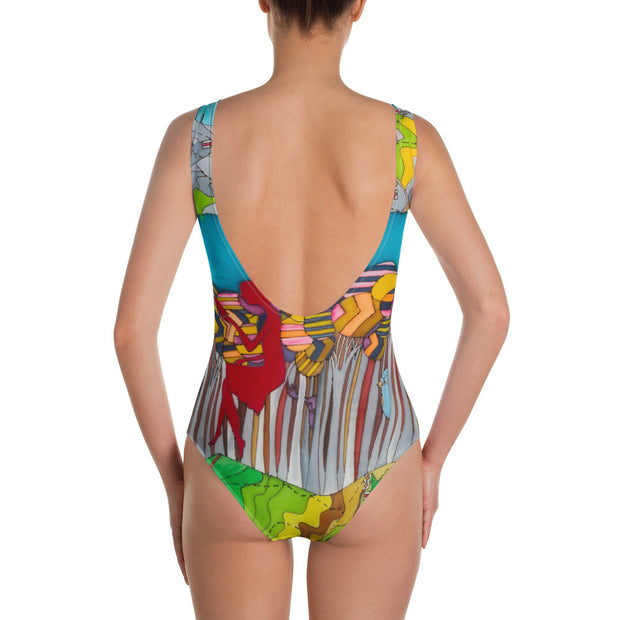 Vivid one-piece swimsuit - colorful and unique beachwear by Somejam - My chair is beyond the margins - Swimsuit