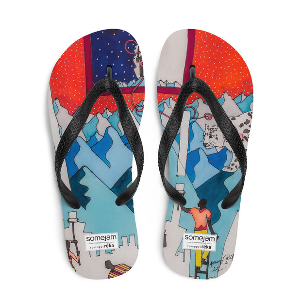 Colorful unique flip-flops - vivid and bold beachwear by Somejam - For the pleasure of the snow leopard - Flip-Flops