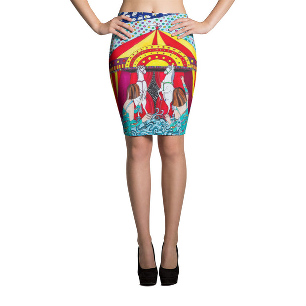 Colorful unique pencil skirt - vivid and garish summer clothes by Somejam - The circus has surrendered - Pencil Skirt