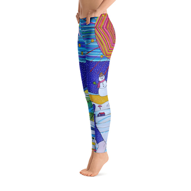 Bold and vivid leggings - colorful and garish yoga pants by Somejam - Make waves move mountains! - Basic Legging