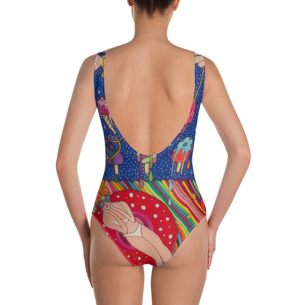Vivid one-piece swimsuit - colorful and unique beachwear by Somejam - Don't be afraid of melting - Swimsuit