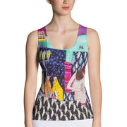 Bold and colorful tank top - striking and garish women shirts by Somejam - Alone with myself - Tank Top