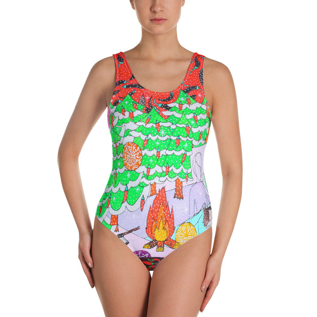 Vivid one-piece swimsuit - colorful and unique beachwear by Somejam - Black is beautiful - Swimsuit