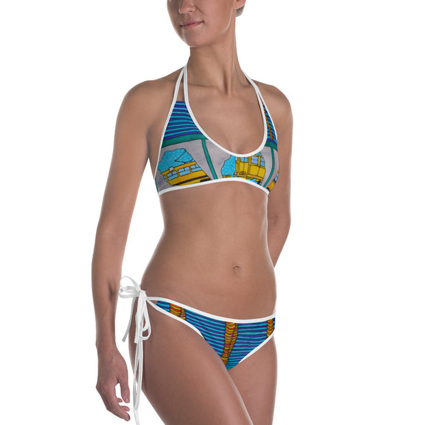 Unique and reversible bikini - colorful and vivid beachwear by Somejam - Washing the window, clearing my eyes - Bikini