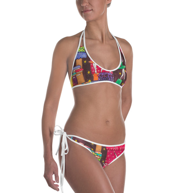 Unique and reversible bikini - colorful and vivid beachwear by Somejam - How did this dance get into my pantry? - Bikini