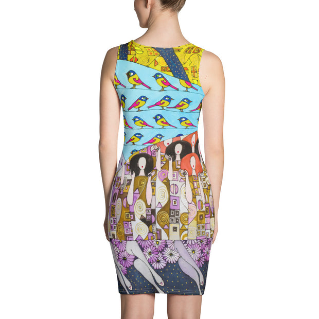 Colorful tight Summer Dress - vivid and garish summer clothes by Somejam - Inspired by Klimt Beethoven Frieze - Strait Dress