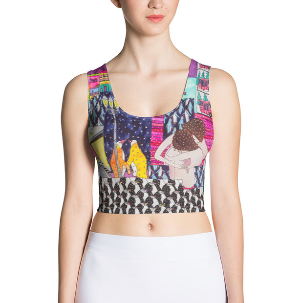 Colorful and bold crop top - striking and flashy women shirts by Somejam - Alone with myself - Crop Top
