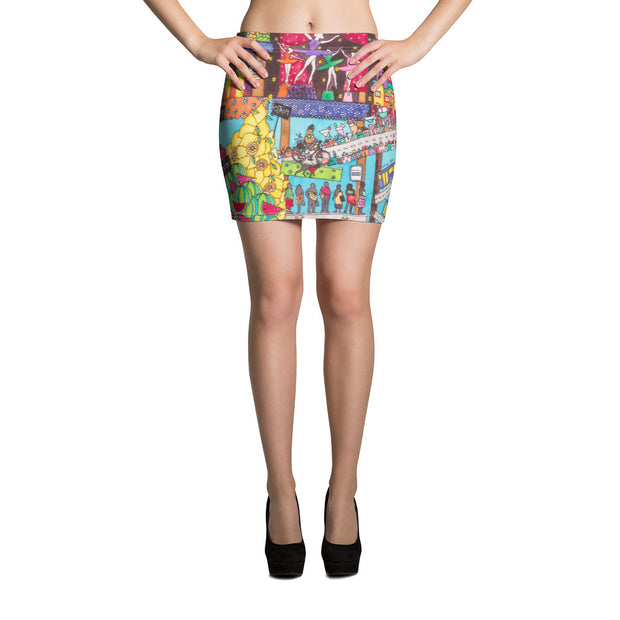 Colorful striking mini skirt - vivid and garish summer clothes by Somejam - How did this dance get into my pantry? - Mini Skirt