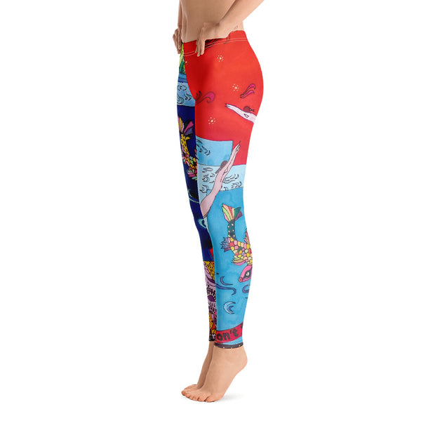 Bold and vivid leggings - colorful and garish yoga pants by Somejam - Don't jump - Basic Legging