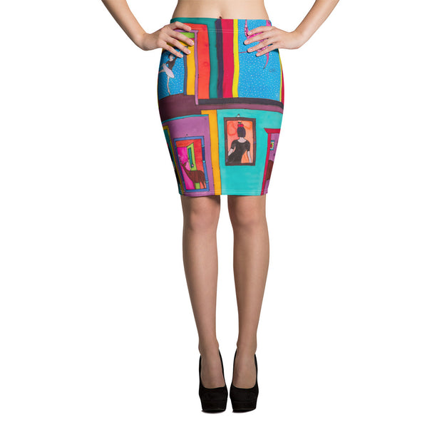Colorful unique pencil skirt - vivid and garish summer clothes by Somejam - Hope dies last - Pencil Skirt