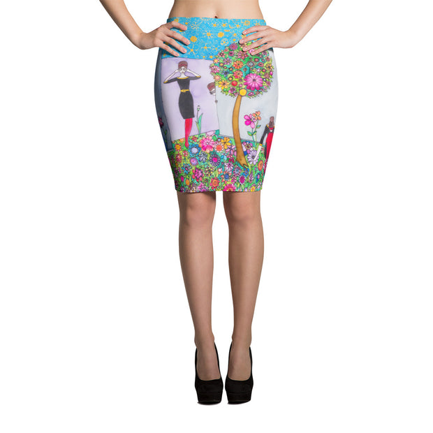 Colorful unique pencil skirt - vivid and garish summer clothes by Somejam - Hide and seek - Pencil Skirt