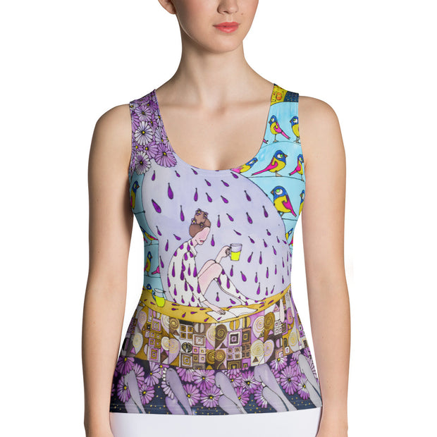 Bold and colorful tank top - striking and garish women shirts by Somejam - Inspired by Klimt Beethoven Frieze - Tank Top