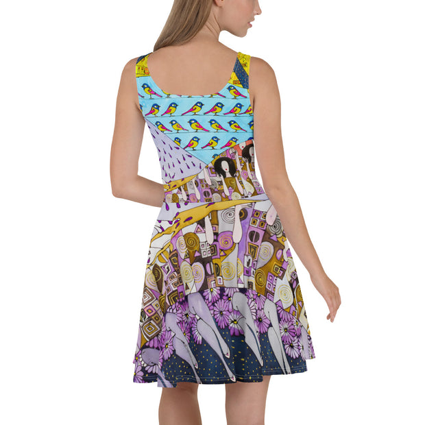 Bold and vivid Summer Dress - colorful and garish summer clothes by Somejam - Inspired by Klimt Beethoven Frieze - Skater Dress
