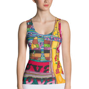 Bold and colorful tank top - striking and garish women shirts by Somejam - Bed of the river - Tank Top
