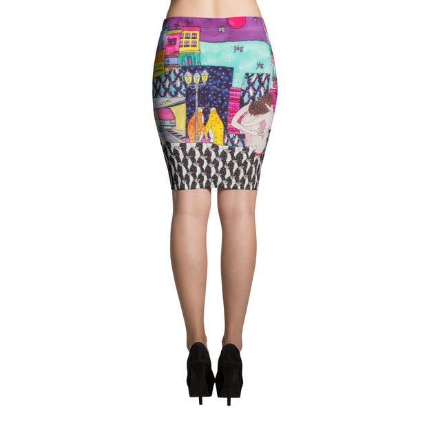 Colorful unique pencil skirt - vivid and garish summer clothes by Somejam - Alone with myself - Pencil Skirt