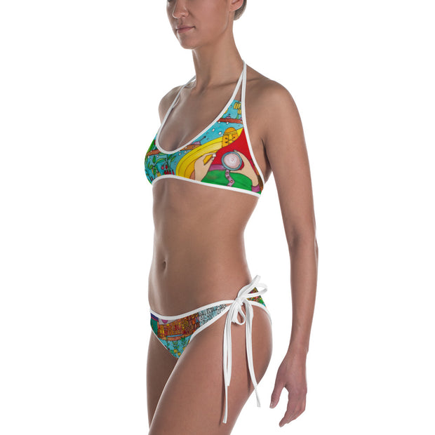 Unique and reversible bikini - colorful and vivid beachwear by Somejam - On a star – in a star - Bikini