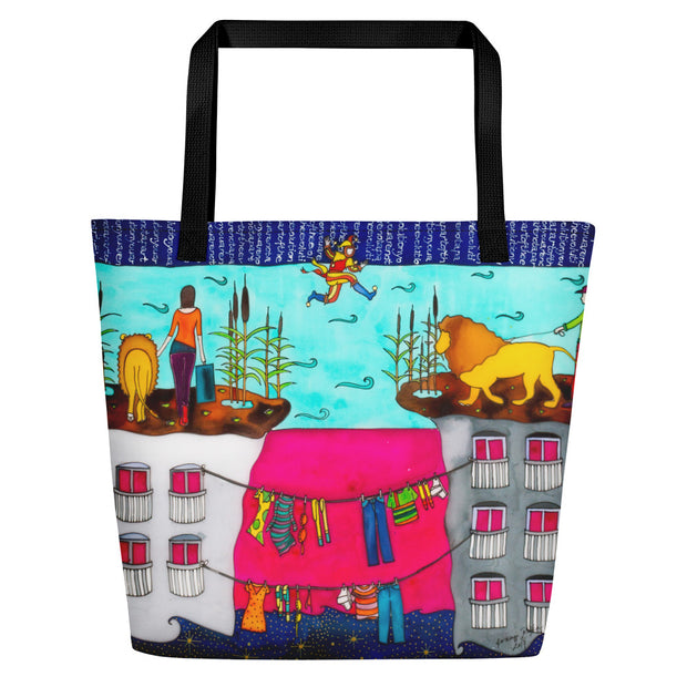 Vivid unique beach bag - colorful and flashy beachwear by Somejam - Make the Fool jump instead of me - Beach Bag