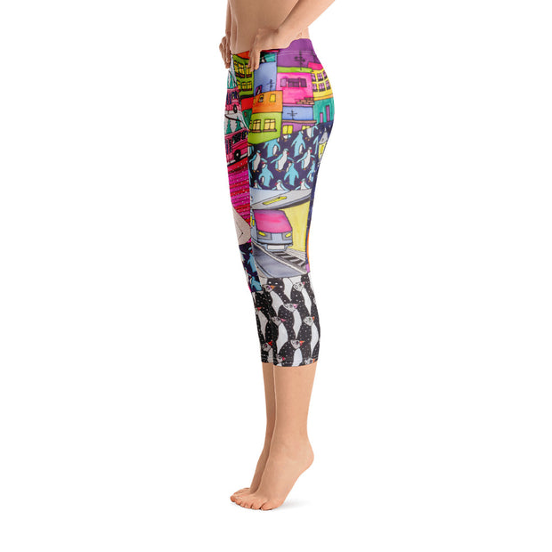 Vivid and bold leggings - colorful and striking summer clothes by Somejam - Alone with myself - Capri Legging