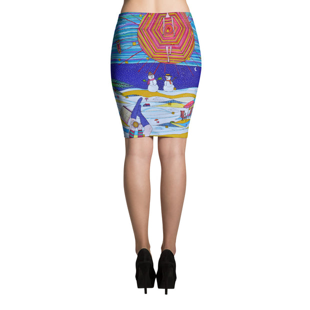 Colorful unique pencil skirt - vivid and garish summer clothes by Somejam - Make waves move mountains! - Pencil Skirt