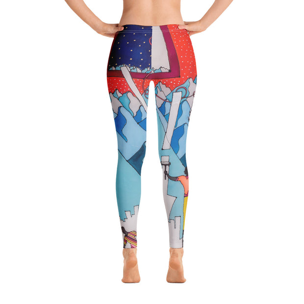 Bold and vivid leggings - colorful and garish yoga pants by Somejam - For the pleasure of the snow leopard - Basic Legging
