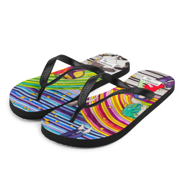Colorful unique flip-flops - vivid and bold beachwear by Somejam - Hare and Hounds - Flip-Flops